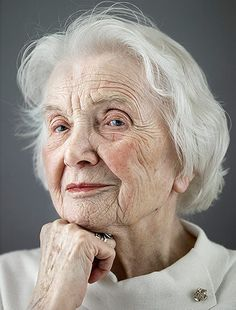 Happy at 100: Erika Elitz, one of the youngest subjects and a whippersnapper at 101, has an elegant profile. It doesn't take much to make her happy, she says, and she's always calm, evenin difficult situations.
