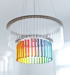 A rainbow chandelier