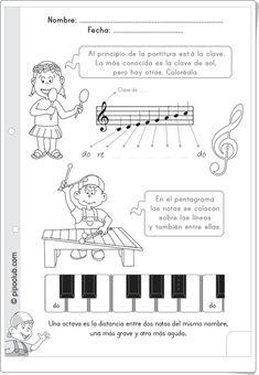 """Las notas y el pentagrama de Pipo"" (Ficha de Música de Primaria) Music Lessons For Kids, Music For Kids, Piano Teaching, Teaching Kids, Writing Portfolio, Music Writing, Music Worksheets, Playing Piano, Music Activities"