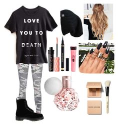 """:D"" by livelovemoonlight ❤ liked on Polyvore featuring True Religion, Dr. Martens, Benefit, Yves Saint Laurent, Bobbi Brown Cosmetics and Boohoo"