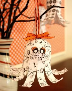 Paper Ghosts...a cute little girl ghost with tutorial (and with small changes, could be a boy ghost, too!)