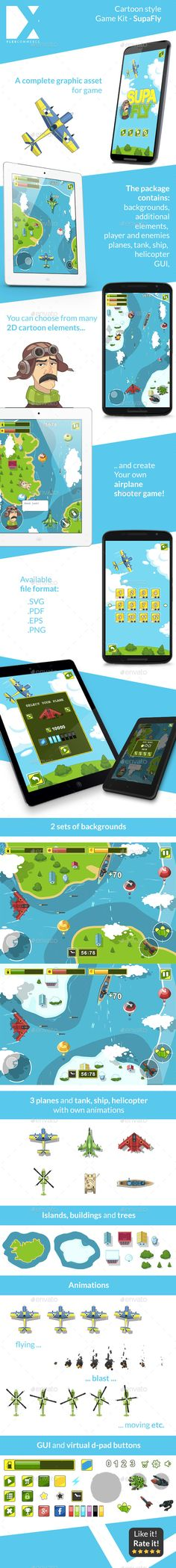 SupaFly Game Kit — Vector EPS #android #flexcommerce • Available here → https://graphicriver.net/item/supafly-game-kit/10657765?ref=pxcr