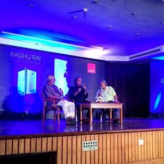 """Prashant Panjiar and Dinesh Khanna in conversation with Raghu Rai at the launch of """"India Through The Eye Of Raghu Rai"""" a book full of photographs that Rai has made entirely on a phone the Gionee E8. What's the future of photography? """"Creativity can be enhanced but not replaced."""" #DPF2015 #Gionee by delhiphotofestival"""