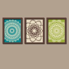 Peacock Wall Art Bedroom Artwork Flower Turquoise Brown Lime Green Radial Sun Burst Doilies Tribal  Set of 3 Prints Decor Bathroom Three by TRMdesign on Etsy