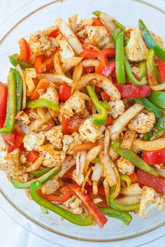 Easy Sheet Pan Vegan Cauliflower Fajitas. Perfect for dinner and then any leftovers can be tossed onto a salad for the next day!