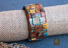 Boho Wide Bohemian Bracelet Ethnic Wide Bangle Mosaic Turquoise Gold Bracelet Large Tribal Bangle Boho Chic Rustic Bracelet Best Gift Etnika by Etniika on Etsy