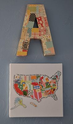 patchwork letter and map. ♥