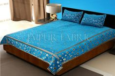 Ocean Color Tropical Design Festive Double Bed Sheet
