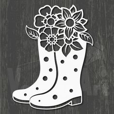 rubber boots with flower. SVG, DXF and EPS file. Suitable for die cutting or embossing Foam Crafts, Diy And Crafts, Paper Crafts, Stencil Diy, Stencils, Origami Templates, Box Templates, Paper Stars, Paper Snowflakes