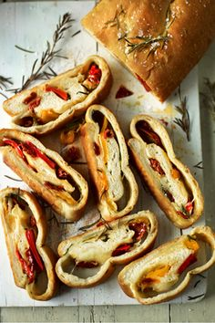 Picnic Loaf - with sunblush toms, rosemary, mozzarella, red peppers in jar. Sunday delicious, for school lunch idea too...