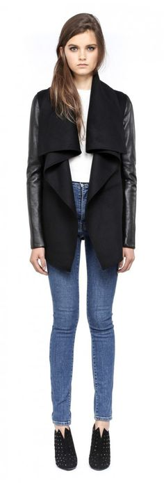 Mackage - VANE-F4 DRAPPED BLACK LIGHT WINTER WOOL JACKET FOR WOMEN WITH LEATHER SLEEVES