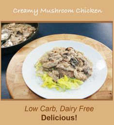 SCD Creamy Mushroom Chicken (*Use dry red wine. Wine Recipes, Food Network Recipes, Real Food Recipes, Chicken Recipes, Easy Diabetic Meals, Easy Meals, Easy Delicious Recipes, Healthy Recipes, Healthy Foods