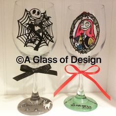 Excited to share the latest addition to my #etsy shop: Jack and Sally wine glasses, Jack Skellington, Nightmare Before Christmas, hand painted, wine glasses, zero, bride and groom, couples gifts #disney #nightmare #christmas #jack #skeleton #halloween #sally