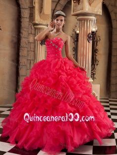 Coral Red Ball Gown Sweetheart Ruffles Organza 16 party dress