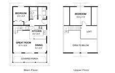 House Plans - Cygnet - Linwood Homes. but 2 bedrooms up top Unique Small House Plans, Micro House Plans, Best House Plans, Dream House Plans, Cabin Plans With Loft, Cabin House Plans, Cabin Floor Plans, Cabin Loft, Linwood Homes