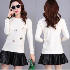 CW57698 Bottoming pullover slim Korean style sweater for women