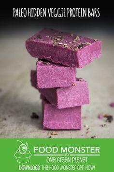 Paleo Hidden Veggie Protein Bars! Gluten Free Desserts, Dairy Free Recipes, Vegan Recipes, Snack Recipes, Dessert Recipes, One Green Planet, Green News, Vegan News, Hidden Veggies