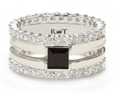 14k white gold air 12ct black diamond ring flanked with two diamond - Same Sex Wedding Rings