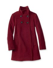 A women's double-breasted swing coat will enhance the elegance of any look.