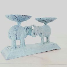 Cast Iron Lucky Elephants Elephant Home Decor, Vintage Elephant, Jewelry Holder, Storage Organization, Cast Iron, Candle Holders, Candles, Turquoise, Disney Princess