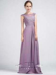 Vintage Lavender Sleeveless Lace and Chiffon Bridesmaid Dress With Illusion Back