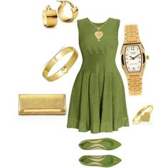 Green and Gold Outfit by hread on Polyvore
