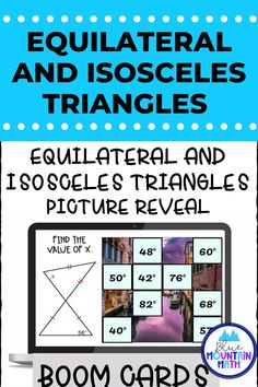 Are you looking for an interactive and self-correcting resource to practice finding the measures of Isosceles and Equilateral triangles with your students? There are 2 different pictures with 16 problems for each picture. Students start with the picture totally covered by the answer boxes. As they answer each question correctly, more and more of the covered picture is revealed.