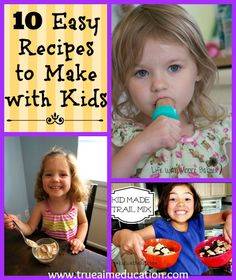 10 recipes to make with your kids including, Banana ice cream, Creamy Pudding Pops, Trail Mix and More!