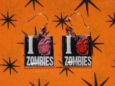 Zombie Earrings I Love Zombies Anatomical Hearts with Sterling Silver French Style Ear Wires. Zombie Apocalypse Jewelry by MelancholyMind, $8.99