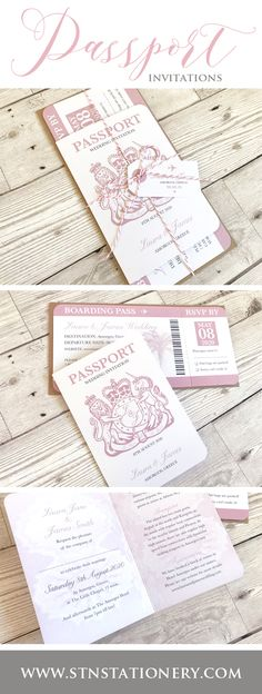 Passport wedding - Passport themed wedding invitations & boarding pass RSVP tickets Available in your wedding colours ) Vegas Wedding Invitations, Passport Wedding Invitations, Beach Invitations, Wedding Invitation Design, Wedding Stationery, Reception Only Invitations, Invitations Online, Boarding Pass Invitation, Ticket Invitation