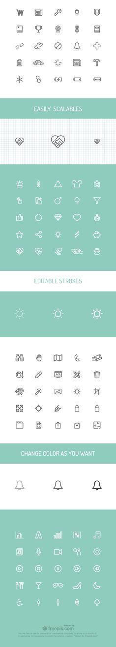 universal themes free icon Set scalabe editable details 100 icons