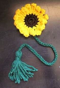 Crochet This Sunflower Bookmark With Tassel For An Adorable Way To Mark Your Place