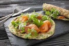 Æggepandekage med laks og purløg. Hertil en creme af skyr og dine yndlingskrydderurter. Nem og lækker frokost beregnet til Dukan Kurens fase 1, angrebsfasen.