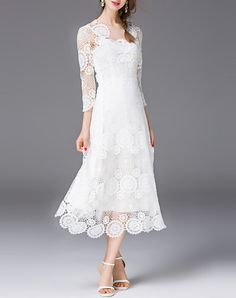 Check the details and price of this Boutique White Plain 3/4 Sleeve Midi Dress (White, Tetelee) and buy it online. VIPme.com offers high-quality Swing Dresses at affordable price.