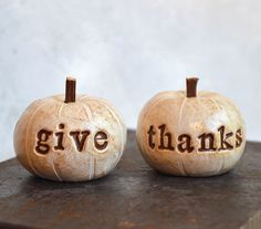 Thanksgiving decor ... give thanks ... handmade polymer clay pumpkins ... Word Pumpkins, ready to ship on Etsy, $26.00