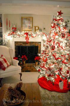 Blue Ribbon Kitchen. Santa Photo Tree at night. Christmas Tree Ideas.