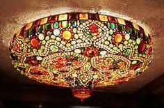art nouveau circular glass light