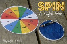 Spin a sight word. I LOVE this way to help children learn common words!