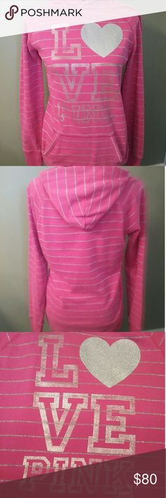 PINK Victorias secret pink and silver hoodie Bust 19in Length 29in Says size small but fits like large or even Xtra large Brand new without tags Sweaters