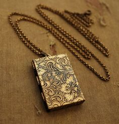 IM IN LOVE WITH THIS! Secret Message Book Locket Gold Book Locket by DearestMine