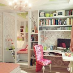 Love the shelving above the desk!!