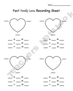 cute fact family game for Valentine's day