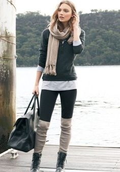 Boots and leggings, black leggings, knee high socks, tall socks, boot socks Boots And Leggings, Black Leggings, Tights, Winter Looks, Fall Winter Outfits, Autumn Winter Fashion, Winter Stil, Womens Fashion, Fashion Trends