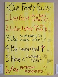 Family rules with bible verses that go with the rules. A great way to memorize scripture & have a family with great values. Made this along with some different verses and one other rule. Can't wait to memorize these verses as a family!