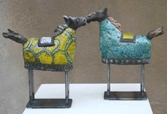 Raku horses -- think of these as reindeer, legs of large nails . . . .  some potential