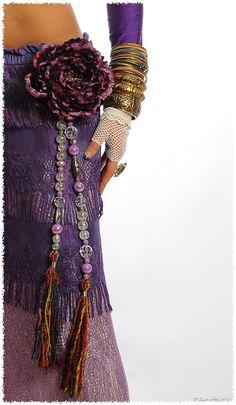 Tribal Jewelry Silk Tassels Tribal Belly Dance Hip Accent  Purple Iridescent Tribal Fusion Gypsy Boho Burlesque. $35.00, via Etsy.