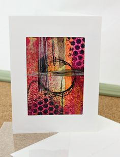 Mixed Media Collage Greeting ACEO greeting Card, Hand painted Original painting by JudyApplegarthArt on Etsy