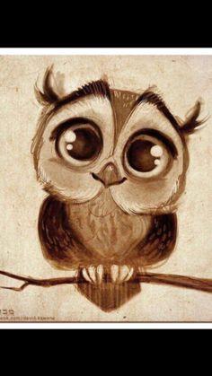 Drawing Doodles Ideas Sweet Little Owl Diamond Painting Cute Owl Drawing, Cute Animal Drawings, Art Drawings, Adorable Drawings, Baby Drawing, Cartoon Drawings, Pencil Drawings, Owl Sketch, Sketch Drawing
