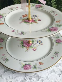 Three Tier Floral Vintage Mismatched Plate Wedding Cake Dessert Stand by VintagePartyPlanner on Etsy | Vintage Dessert Plate Stands | Pinterest | Plate ... : vintage plate stand - pezcame.com