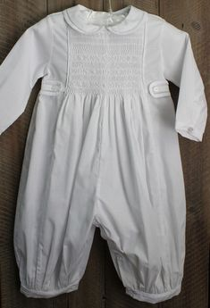 5556b863654a Feltman Brothers Christening Romper for Boy with Peter Pan Collar